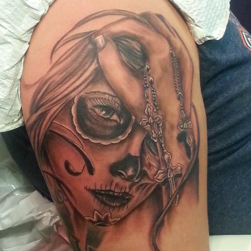 tattoo of a day of the dead girl in black and grey